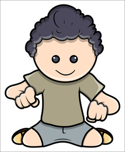Cute Kid Staring Down - Vector Cartoon Illustration