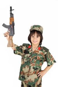 Cute kid with gun