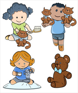 Cute Kids Playing - Vector Illustrations