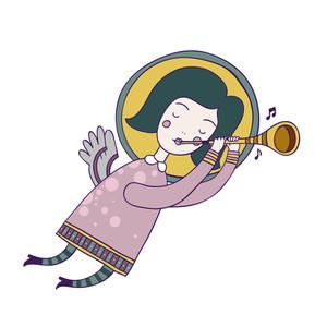 Cute Little Angel Holding A Musical Instrument