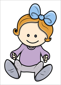 Cute Little Baby Girl - Vector Illustrations