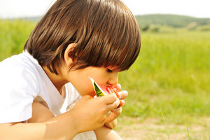 cute little boy eating watermelon on the grass in summertime