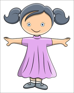 Cute Little Doll - Vector Cartoon Illustration