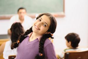 Cute little girl at school