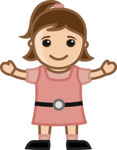 Cute Little Girl - Vector Character Cartoon Illustration