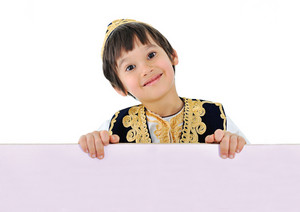 Cute little kid with banner for your text
