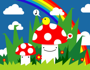 Cute Mushrooms And Funny Singing Bird In The Forest