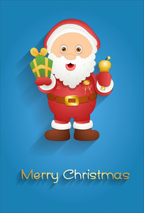 Cute Old Santa Claus With Gift Box And Golden Bell