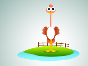 Cute Ostrich Cartoon.