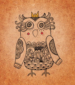 Cute Owl Princess On Real Cardboard Background. Lacy Bird On Paper.