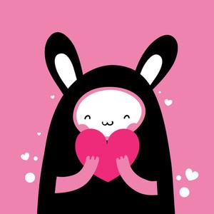 Cute Rabbit Holding A Heart