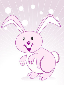 Cute Rabbit With Purple Background