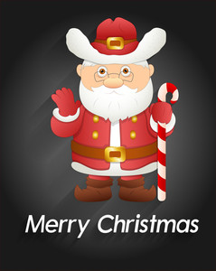 Cute Santa Claus With Candy Cane