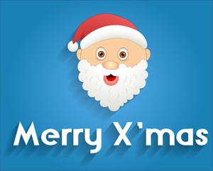 Cute Santa Face Xmas Banner