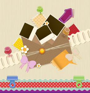 Cute Scrapbook Elements Vector Illustration