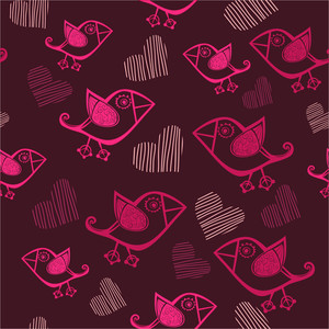 Cute Seamless With Cartoon Birds And Hand-drawn Hearts