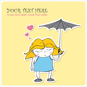 Cute Sleeping Girl With Umbrella In Cartoon Style. Vector Illustration.