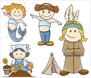 Cute Small Girls Cartoon Vector Illustrations