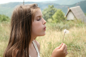 Cute Smiling Little Girl With Dandelion In Her Hands Makes Wish