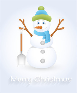 Cute Snowman Christmas Greeting Template