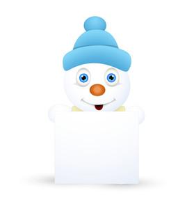 Cute Snowman Presenting Blank Banner
