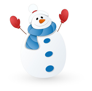 Cute Snowman Vector Illustration