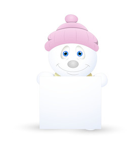 Cute Snowman With Blank Ad Banner