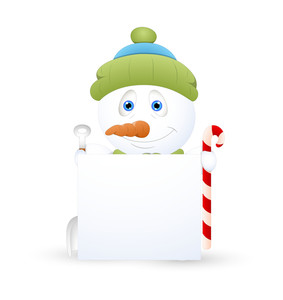 Cute Snowman With Blank Message Banner