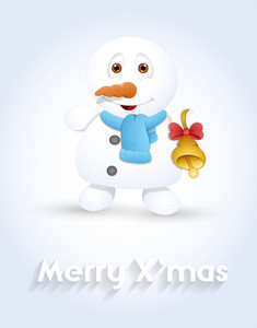Cute Snowman With Golden Bell