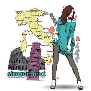 Cute Summer Girl In Sketch-style On A Italien Background. Vector Illustration