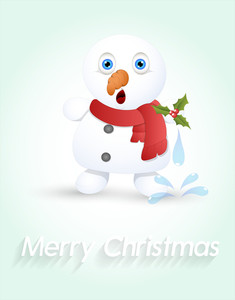 Cute Surprised Snowman