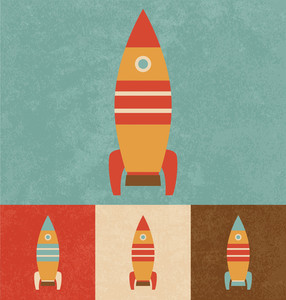 Nettes Spielzeug-Rocket | Cartoonish-Design | Vintage-Stil