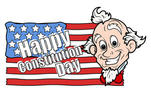 Cute Uncle Sam Cartoon  Constitution Day Vector Illustration