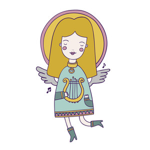 Cute Vector Angel Is Playing Harp