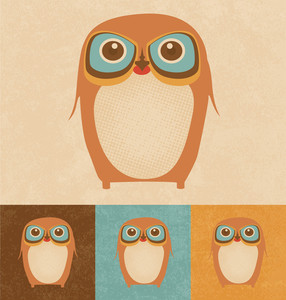 Cute Vector Owl | Character Design | Vintage Style