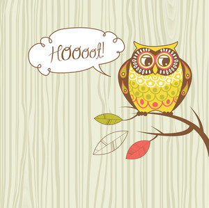 "Cute Vector Owl. ""hoooot"" Card"