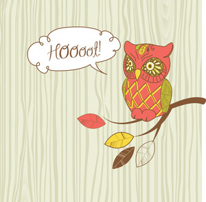 "Cute Vector Owl. ""hoot"" Card"