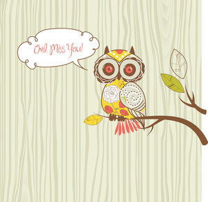 "Cute Vector Owl. ""owl Miss You"" Card"