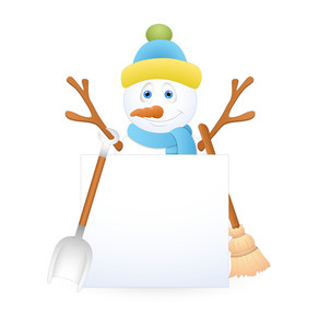 Cute Xmas Snowman With Banner And Equipments