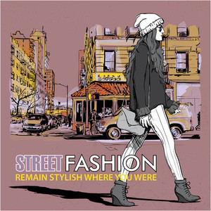 Cute Young Fashion Girl On A Street Background. Hand Drawn Vector Illustration.