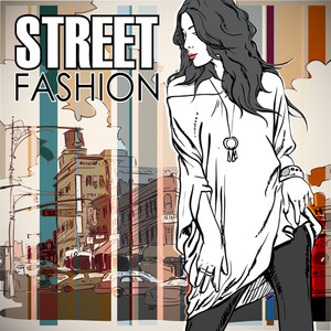 Cute Young Fashion Girl On A Street Background.vector Illustration.