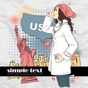 Cute Young Girl In Sketch-style On A Usa-background. Vector Illustration.