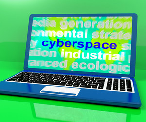 Cyberspace Definition On Laptop Shows Internet