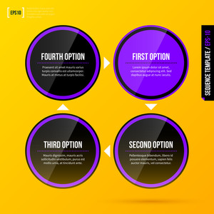 Cycle Template With Four Round Elements On Bright Yellow Background In Modern Corporate Style. Eps10