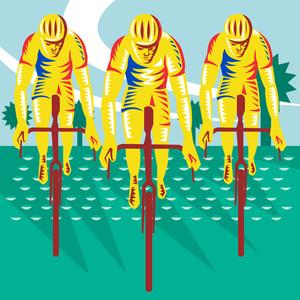 Cyclist Riding Bicycle Cycling Retro