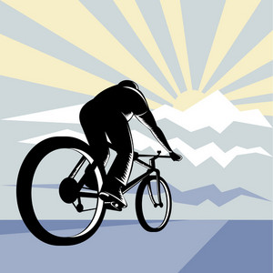 Cyclist Riding Bicycle With Mountain