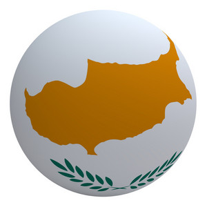 Cyprus Flag On The Ball Isolated On White.
