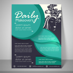 Daily makeovers flyers and banner with address bar place holder and mailer on floral decorated background.