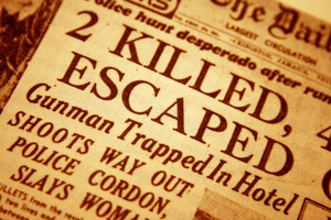 Daily Newspaper Headline That Reads Killed And Escaped