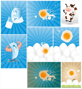 Dairy And Eggs Vectors